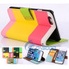 Caja de cuero multicolora del tirón de la carpeta de la PU para el iPhone 6 4.7  (IP6-016)