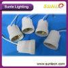 Base E27 della porcellana/di ceramica lampada con il supporto della lampada del cavo di 25cm (LH01)