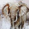 코끼리 동물성 알루미늄 기본적인 추상적인 유화