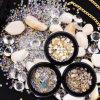 schoonheid van de Doos van de Juwelen van de Spijker van 2017 van de manier van de Stijl van de Spijker van de Kunst de Decoratie Gemengde van de Spijker van de Kristallen Parels DIY van de Bergkristallen 3D voor Spijkers Accessoires