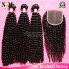 Het Mongoolse Kroezige Krullende Haar van Remy van Bundels Afro Menselijke Maagdelijke met Sluiting