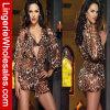 Ropa interior atractiva de la ropa de noche de la cuerda del leopardo de la perspectiva de tres colores
