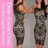 Schwarze Häkelarbeit-nacktes Illusion Bodycon Kleid