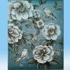 ハンドメイドの抽象的なハンドメイドの花の鳥の油絵(LH-078000)