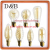 Weinlese-antike Glühlampe-Lampe - Karton-HeizfadenEdison Fühler-Eichhörnchen Rahmen - Fühler 1910 der Spirale-Clear/Gold Edison