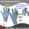 13G PE/Стекловолокно вязаные рукавицы с коровы Split кожа Palm/ EN388: 4544