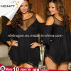 Nightgown ocidental do estilo do estilo quente da meia-noite sexy positivo da roupa interior do Lacework do tamanho