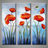 Pittura chiara del fiore del papavero di arte della parete di coloritura (KLFL3-0100)