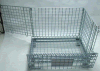 Cesta amontonable del metal de la jaula del almacenaje de alambre del envase plegable del acoplamiento