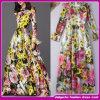 2015 novo e elegante cor luminosa Plaid Slim misturar cor impressa mulheres partido formal/Noite Dress (C-166)
