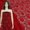 Merletto chimico floreale rosso 3D per il vestito