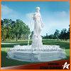 Weißer Marmorwasser-Brunnen mit Maid für Hausgarten Mf048