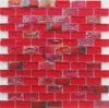 赤い虹色の水晶モザイク・タイル(CFR685)