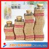 4PCS Wavy Glass Jars con Grass Weave