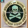 De la fábrica monedas de encargo del pirata del metal del recuerdo de la alta calidad al por mayor directo con moneda de Qualtiy del hueso de la cruz del cráneo la alta