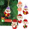 Pendant accrochant chaud d'argile de polymère de charme du père noël de cadeau de Noël de décoration d'arbre de Noël de la vente 6PCS