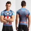 도매 복수자 미국은 슈퍼 영웅 의류 의복 남자의 t-셔츠를 인쇄하는 달리는 타이츠 스판덱스 호리호리한 3D를 Captain