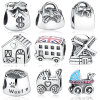 Handbag Windmill House Money Bags Carrinho de bebê London Bus Enamel Thread Charm Silver Charm Beads