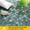Aschen-grüne und graue bereiftes Glas-Mosaik-Mischung mit Stein