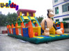 Trasparenza gonfiabile di tema della gorilla di alta qualità con la città di divertimento del campo da giuoco per la sosta