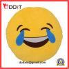 Coxim de grito enchido redondo amarelo do Emoticon de Emoji do delicado do luxuoso
