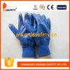 Luva revestida Dcn426 do trabalho do algodão do petróleo nitrilo resistente
