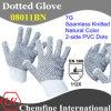 7g белый полиэстер / хлопок трикотажные перчатки с 2-х сторон черный ПВХ точек / EN388: 112x