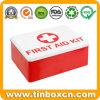 Kundenspezifischer rechteckiger MetallStorge Zinn-Kasten für Erste-Hilfe-Ausrüstung