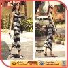 Long di qualità superiore Black and White Stripe Beach Dress (wzld-410-010)