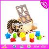 新しいデザイン子供引きおよび押しの木のおもちゃのハリネズミW05b159