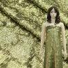 Ткань вышивки Sequins Paillette золотистая для платья