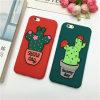 Nuevo diseño en maceta cactus silicona caso de teléfono celular cubierta trasera suave para iphone6 / plus (xsf-083)