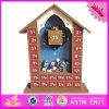 2016 Caja de madera al por mayor Calendario de Adviento, Casa Diseñado Calendario del advenimiento de la caja de madera, de madera Adviento W02A174 calendario de Box