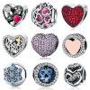 O Zirconia cúbico CZ da cor-de-rosa de 925 encantos do grânulo do coração da prata esterlina grampeia a jóia cabida encantos do bracelete