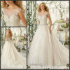 A - ligne Tulle Bridal Gown Sheer Neckline Beads Wedding Dress Mrl2818