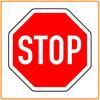 Отражательный знак стопа, предупредительный знак дороги