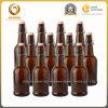 Kundenspezifische bernsteinfarbige Bier-Glas-Brauengroßhandelsflasche mit Klipp-Kappe (831)