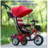 Driewieler Met drie wielen de Met drie wielen van de Peuter van de Jonge geitjes van de baby met de Staaf van de Duw