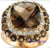 宝石類カラー立方ジルコニアの純銀製の方法リング(R90920)