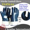 Джерси перчатка с антимикробными Синий нитрил Полностью с покрытием и безопасности манжеты / EN388: 4221