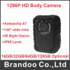Da segurança pessoal video do corpo de HD 1296p do registro impermeável 2.0 da visão noturna da câmera da polícia tela