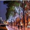 크리스마스 정원 결혼식 장식을%s 태양 강화한 LED 유성우 비 빛 떨어지는 빗방울 빛이 옥외 끈에 의하여 점화한다