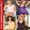 Cuatro colores más la ropa interior atractiva de la ropa de noche del cordón de la talla