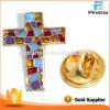 Значок Pin креста металла эмали конструкции OEM цветастый стекловидный