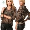 De grote Blouse van de alle-Gelijke van de Manier van de Grootte Luipaard Afgedrukte Dame Chiffon T-Shirts