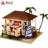 Casa de muñeca miniatura de madera DIY con muebles