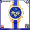 青いダイヤルのクロノグラフのステンレス鋼の卸売の人の腕時計が付いているYxl-326 2016男性用水晶腕時計