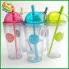 De forma personalizada de plástico sem BPA Snack-Cup com palha