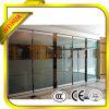 Porta deslizante desobstruída de vidro Tempered para o escritório