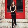 2013 robes Chiffon de fente de haute de noir de mode d'été de dames (XYT-234)